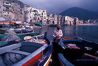 fisherman in port, Cefalu, Sicily, Italy - photograph by Owen Franken - Photograph by Owen Franken