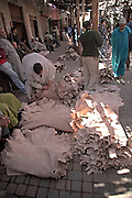 Bundles of leather in leather market part of the  medina, Marrakech, Morocco, north Africa