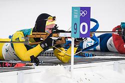 February 12, 2018 - Pyeongchang, SOUTH KOREA - 180212  Sebastian Samuelsson of Sweden competes in the Men's Biathlon 12,5km Pursuit during day three of the 2018 Winter Olympics on February 12, 2018 in Pyeongchang..Photo: Jon Olav Nesvold / BILDBYRÃ…N / kod JE / 160157 (Credit Image: © Jon Olav Nesvold/Bildbyran via ZUMA Press)