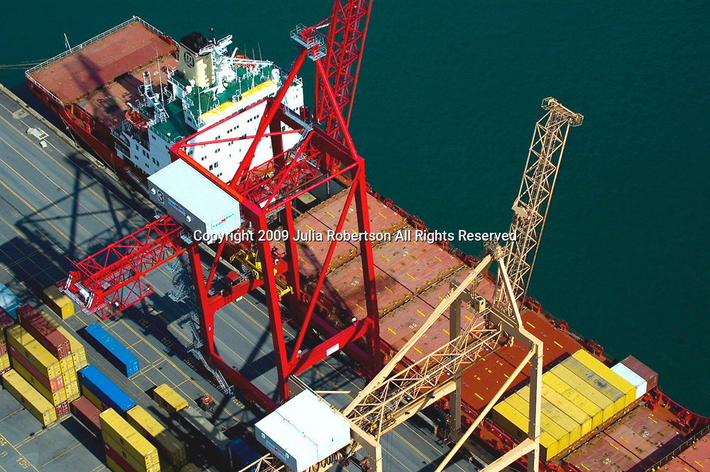 Aerial Photograph Container Tanker in the Port of Montreal, Canada