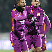 Galatasaray's Yasin Oztekin (L) celebrate his goal with team mate during their Turkish soccer super league match Sivasspor between Galatasaray at 4 Eylul Stadium in Sivas Turkey on Saturday, 21 February 2015. Photo by Aykut AKICI/TURKPIX