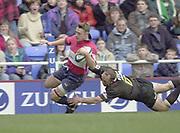Reading, Berkshire, UK., 16th March 2002, Zurich Premiership Rugby, Madejski Stadium, England, [Mandatory Credit: Peter Spurrier/Intersport Images],<br /> <br /> Zurich Premiership-Madejski Stadium <br /> London Irish v Bristol<br /> David Rees. scoring a breakaway first half try