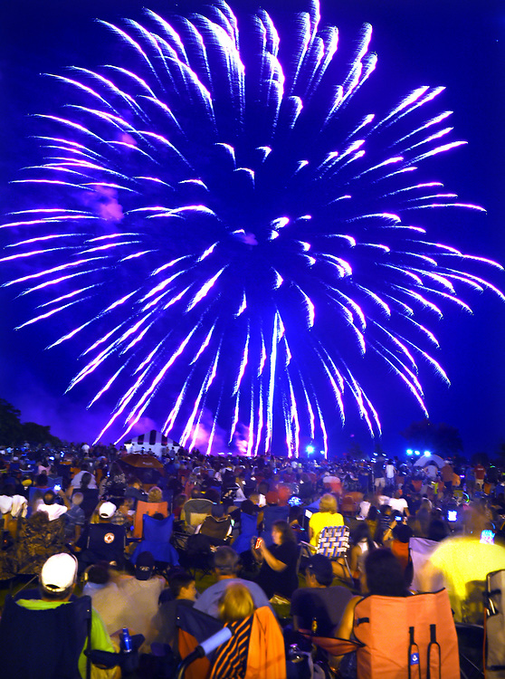 (Mara Lavitt — New Haven Register) <br /> July 5, 2014 West Haven<br /> With 41 fireworks shows statewide, West Haven had some competition, and it showed in reduction of crowd size. But the fireworks and great weather still entertained those in attendance.<br /> mlavitt@newhavenregister.com