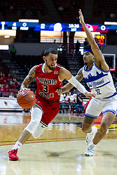 NORMAL, IL - February 22: Ricky Torres defended by Roman Penn during a college basketball game between the ISU Redbirds and the Drake Bulldogs on February 22 2020 at Redbird Arena in Normal, IL. (Photo by Alan Look)
