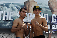 Lee Selby of Wales ® at weigh in preparing for his fight against Romulu Koasicha (l) of Mexico. Weigh in for the 'second coming' 17th May Cardiff boxing show in Queen Street, Cardiff, South Wales on Friday 16th May 2014.<br /> pic by Andrew Orchard, Andrew Orchard sports photography.