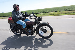 Jeff Erdman of Wisconsin riding his 1916 Harley-Davidson in the Motorcycle Cannonball Race of the Century. Stage-8 from Wichita, KS to Dodge City, KS. USA. Saturday September 17, 2016. Photography ©2016 Michael Lichter.