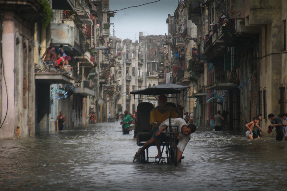 Sea water flooded into an area of Old Havana. Increasing extreme weather events are linked to climate change.