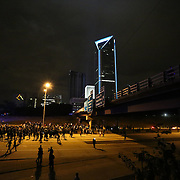 Charlotte, NC- September 22, 2016: Protestors shut down traffic on Interstate 277 in Charlotte during the 3rd night of protesting the city has seen. CREDIT: LOGAN R. CYRUS FOR THE NEW YORK TIMES