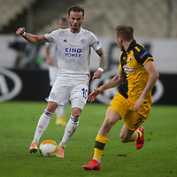 ATHENS, GREECE - OCTOBER 29: James Maddisonof Leicester City attacks during the UEFA Europa League Group G stage match between AEK Athens and Leicester City at Athens Olympic Stadium on October 29, 2020 in Athens, Greece. (Photo by MB Media)