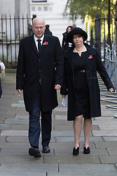 © Licensed to London News Pictures. 13/11/2016. LONDON, UK.  Secretary for Transport, CHRIS GRAYLING walking through Downing Street to the annual Remembrance Sunday service at the Cenotaph memorial in Whitehall, which is held in tribute for members of the armed forces who have died in major wars and conflicts. Photo credit: Vickie Flores/LNP