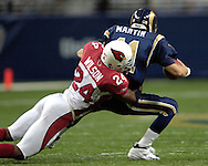 Arizona strong safety Adrian Wilson (24) sacks St. Louis Rams quarterback Jamie Martin (11) in the fourth quarter at the Edward Jones Dome in St. Louis, Missouri, November 20, 2005.  The Cardinals beat the Rams 38-28.