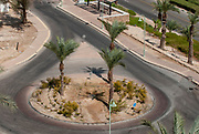 Israel, Ein Bokek, Dead Sea. A traffic roundabout at the hotel strip