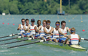 St Catherines, CANADA,  Men Lightweight eight,  Bow, Phil BAKER , Gareth DAVIS , Ned KITTOE , Mike LOUZADO , James McGARVA , Nicholas STRANGE , Aidan TUCKER , David WEBB, competing at the 1999 World Rowing Championships - Martindale Pond, Ontario. 08.1999..[Mandatory Credit; Peter Spurrier/Intersport-images]  ..St Catherines, CANADA,  Men Lightweight eight,  Bow, Phil BAKER , Gareth DAVIS , Ned KITTOE , Mike LOUZADO , James McGARVA , Nicholas STRANGE , Aidan TUCKER , David WEBB, competing at the 1999 World Rowing Championships - Martindale Pond, Ontario. 08.1999..[Mandatory Credit; Peter Spurrier/Intersport-images]    ...St Catherines, CANADA,  Men Lightweight eight,  Bow, Phil BAKER , Gareth DAVIS , Ned KITTOE , Mike LOUZADO , James McGARVA , Nicholas STRANGE , Aidan TUCKER , David WEBB, competing at the 1999 World Rowing Championships - Martindale Pond, Ontario. 08.1999..[Mandatory Credit; Peter Spurrier/Intersport-images]    ... 1999 FISA. World Rowing Championships, St Catherines, CANADA
