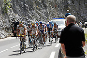 France, Sallanches, 22 July 2009: A group containing Mark Cavendish (GBr) Team Columbia - High Road ascends the Côte d'Araches during Stage 17 Bourg St Maurice to Le Grand Bornand.Images from 2009 Tour de France cycle race. Photo by Peter Horrell / http://peterhorrell.com .