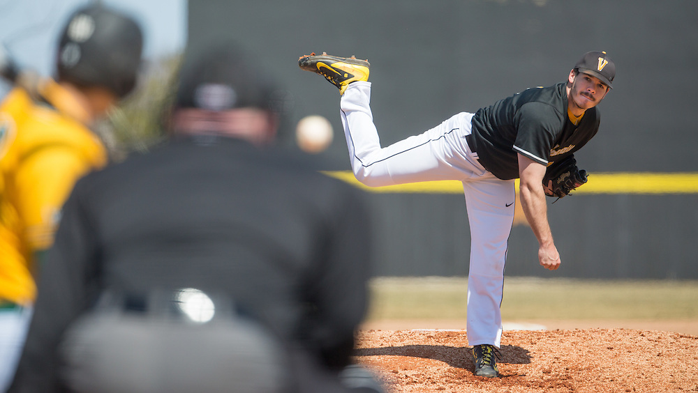 Valparaiso University starting pitcher Cole Webb #9 throws to the plate against Wright State in the first game of a doubler-header Saturday at Emory Bauer Field.