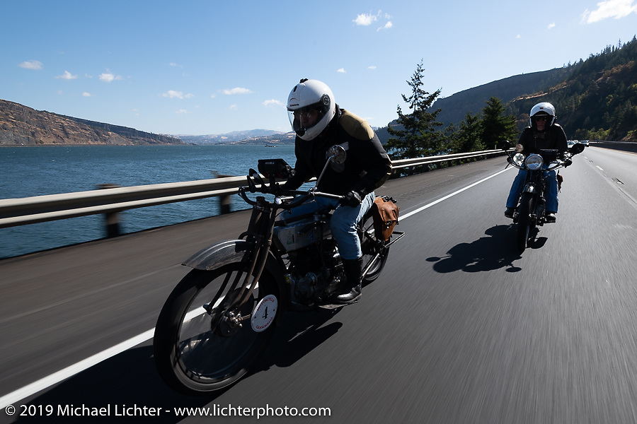 Mark Hill riding his 1917 Henderson along the Columbia River on the Motorcycle Cannonball coast to coast vintage run. Stage 15  (51 miles - the Grand Finish) from The Dalles to Stevenson, OR. Sunday September 23, 2018. Photography ©2018 Michael Lichter.