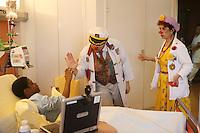 Clowns visit sick children in the cancer blood disease floor in Hospital St. Louis, a public assistance hospital, Paris....April 7, 2006....