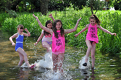 © Licensed to London News Pictures. 01/06/2017<br /> Half term holiday fun for family's enjoying the warm weather along the river Darent in Eynsford, Kent.<br /> Photo credit: Grant Falvey/LNP