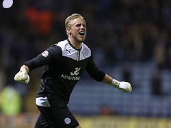 Leicester City's Kasper Schmeichel celebrates the victory - Photo mandatory by-line: Matt Bunn/JMP - Tel: Mobile: 07966 386802 10/01/2014 - SPORT - FOOTBALL - King Power Stadium - Leicester - Leicester City v Derby County - Sky Bet Championship