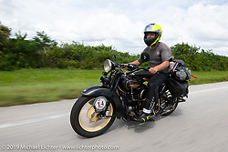 Loring Hill riding a Henderson Motorcycle during the Cross Country Chase motorcycle endurance run from Sault Sainte Marie, MI to Key West, FL. (for vintage bikes from 1930-1948). Stage-9 covered 259 miles from Lakeland, FL to Miami, FL USA. Saturday, September 14, 2019. Photography ©2019 Michael Lichter.