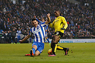 Burton Albion striker Marvin Sordell (9) battles for possession with Brighton & Hove Albion central defender Lewis Dunk (5) during the EFL Sky Bet Championship match between Brighton and Hove Albion and Burton Albion at the American Express Community Stadium, Brighton and Hove, England on 11 February 2017. Photo by Richard Holmes.