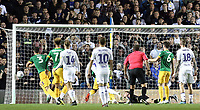 Preston North End's Declan Rudd is helpless to prevent Leeds United's Liam Cooper (not pictured) scoring the opening goal <br /> <br /> Photographer Rich Linley/CameraSport<br /> <br /> The EFL Sky Bet Championship -  Leeds United v Preston North End - Tuesday September 18th 2018 - Elland Road - Leeds<br /> <br /> World Copyright © 2018 CameraSport. All rights reserved. 43 Linden Ave. Countesthorpe. Leicester. England. LE8 5PG - Tel: +44 (0) 116 277 4147 - admin@camerasport.com - www.camerasport.com