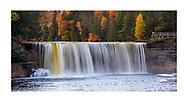 A very picturesque waterfall in motion blur, Tahquamenon Falls in autumn, Michigan's Upper Peninsula, USA