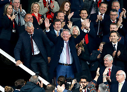 Sir Alex Ferguson in the stands, at his first match since having emergency brain surgery in May, before the Premier League match at Old Trafford, Manchester.