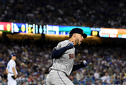 October 31, 2017 - Los Angeles, California, U.S. - Houston Astros' George Springer (4) reacts as he rounds first base after hitting a solo home run off of Los Angeles Dodgers' Rich Hill (not pictured) in the 3rd inning of game six of a World Series baseball game at Dodger Stadium on Tuesday, Oct. 31, 2017 in Los Angeles. (Photo by Keith Birmingham, Pasadena Star-News/SCNG) (Credit Image: © San Gabriel Valley Tribune via ZUMA Wire)