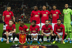 Manchester United line up for a photo without Harry Maguire - Mandatory by-line: Jack Phillips/JMP - 07/11/2019 - FOOTBALL - Old Trafford - Manchester, England - Manchester United v Partizan - UEFA Europa League