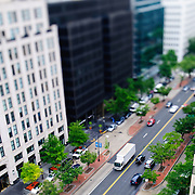 Washington downtown at K Street and 19th using tilt-shift. NB: This is using tilt-shift photographic technique and has a very narrow field of focus.