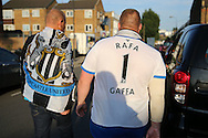 two Newcastle United fans walking towards Loftus Road before k/o. EFL Skybet football league championship match, Queens Park Rangers v Newcastle Utd at Loftus Road Stadium in London on Tuesday 13th September 2016.<br /> pic by John Patrick Fletcher, Andrew Orchard sports photography.