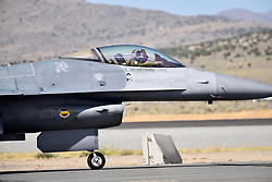 September 13, 2018 - Reno, Nevada, U.S. - RENO, NV - SEPTEMBER 13: Pilot on the F-16 Fighting Falcon waves to the crowd after completing an aerial demonstration at the 55th National Championship Air Races the only closed course pylon racing event in the world, and is the world's longest running air race held in Reno, NV. (Photos by Lyle Setter/Icon Sportswire) (Credit Image: © Lyle Setter/Icon SMI via ZUMA Press)