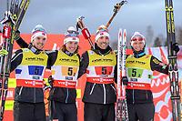 Kombinert<br /> VM 2015 / FIS World Championships<br /> Falun Sverige<br /> 22.02.2015<br /> Foto: Gepa/Digitalsport<br /> NORWAY ONLY<br /> <br /> Lagkonkurranse<br /> FIS Nordic World Ski Championships, team competition, HS100/ 4x5km, flower ceremony. Image shows Jørgen Graabak, Mikko Kokslien, Magnus H. Moan and Håvard Klemetsen (NOR).