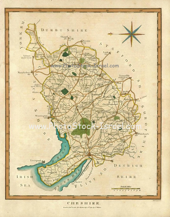Handcolored copperplate engraving of a 19th century map of Cheshire, England  From the Encyclopaedia Londinensis or, Universal dictionary of arts, sciences, and literature; Volume IV;  Edited by Wilkes, John. Published in London in 1810