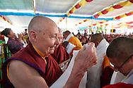 Jetsunma Tenzin Palmo congratulating one of the first Geshema at Drepung Lachi in Mundgod, Karnataka, India on December 22, 2016.