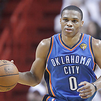 21 June 2012: Oklahoma City Thunder point guard Russell Westbrook (0) brings the ball upcourt during the second quarter of Game 5 of the 2012 NBA Finals, at the AmericanAirlinesArena, Miami, Florida, USA.