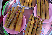 Fresh bamboo shoots for sale at Chiang Dao twice monthly fresh morning market, Chiang Mai province, Thailand. Local hill tribes throng to the market to sell their products and buy necessities.