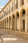 View of building exterior with architectural arches, Ronda, Andalusia, Spain