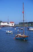 AREJGB Boats moored on River Deben, Woodbridge, Suffolk, England