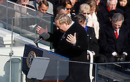The Reverend Rick Warren gives the prayer at the swearing in ceremony during the Inauguration on January 20, 2009.  Photograph:  Dennis Brack