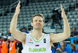 Miha Zupan of Slovenia celebrates after winning during basketball match between Slovenia vs Netherlands at Day 4 in Group C of FIBA Europe Eurobasket 2015, on September 8, 2015, in Arena Zagreb, Croatia. Photo by Vid Ponikvar / Sportida