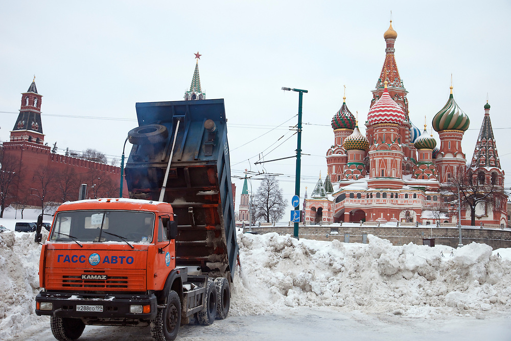 Moscow, Russia, 23/02/2010..Workers use a snow incinerator, trucks and ploughs to help clear Red Square after record amounts of snow fell over the weekend, the heaviest in the Russian capital for nearly 50 years.