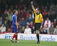 Photo: Rich Eaton.<br /> <br /> Bristol City v Crewe Alexander. Coca Cola League 1. 14/10/2006. referee Mr Crossley sends of Gary Roberts of Crewe