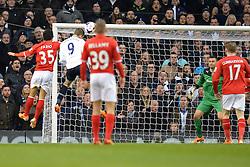 Tottenham's Roberto Soldado heads the ball towards the Cardiff goal - Photo mandatory by-line: Mitchell Gunn/JMP - Tel: Mobile: 07966 386802 02/03/2014 - SPORT - FOOTBALL - White Hart Lane - London - Tottenham Hotspur v Cardiff City - Premier League