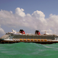 Disney Fantasy Cruiseship viewed from water