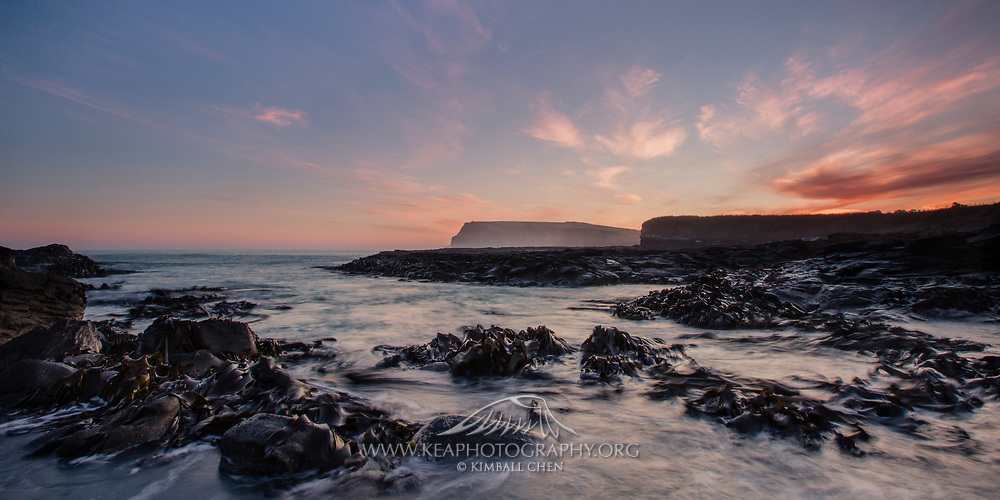 Sunset over Curio Bay, Catlins, New Zealand