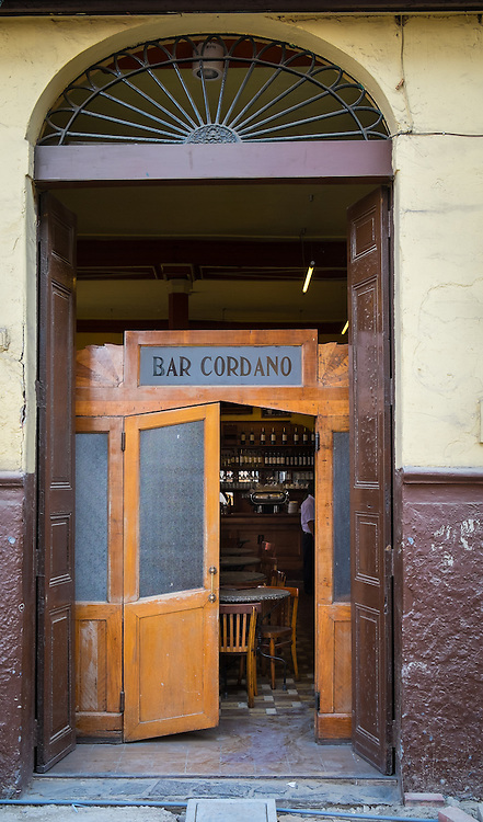 View of entrance of typical bar in the Lima Historic Centre in Peru