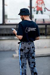 Street style, JS Roques (Jaimetoutcheztoi) arriving at Off White Spring-Summer 2019 menswear show held at Palais de Chaillot, in Paris, France, on June 20th, 2018. Photo by Marie-Paola Bertrand-Hillion/ABACAPRESS.COM