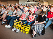 16 MAY 2011 - PHOENIX, AZ: About 200 people attended Congressman Ben Quayle's (R-AZ) town hall meeting in the Anthem neighborhood of Phoenix, AZ, Monday. Quayle, son of former Vice President Dan Quayle, was elected in the Republican tide that captured the House of Representatives in Nov. 2010. Quayle tried to run under a Tea Party banner. Most of the people in the crowd were hostile to Quayle and the GOP budget proposal that would change medicare to a voucher system and Quayle was shouted down several times when he tried to support the budget.     Photo by Jack Kurtz